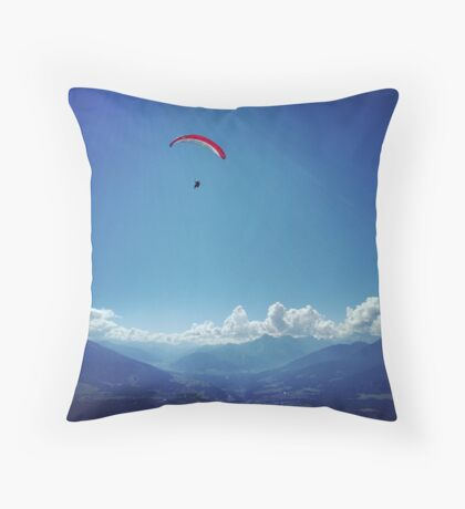 Paragliding in the Austrian Alps Throw Pillow