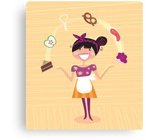 Mother - kitchen super hero girl - original handdrawn design by Guothova Canvas Print