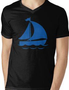 Blue Sailing Boat Mens V-Neck T-Shirt