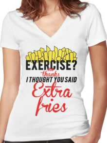 EXTRA FRIES, NOT EXERCISE Women's Fitted V-Neck T-Shirt