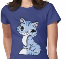 Blue Female Cat Womens Fitted T-Shirt