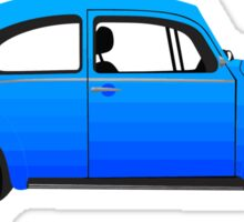 Blue Vintage Beetle Car Sticker