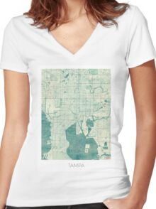Tampa Map Blue Vintage Women's Fitted V-Neck T-Shirt