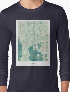 Tampa Map Blue Vintage Long Sleeve T-Shirt