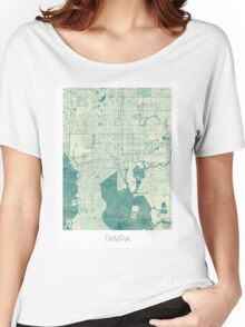 Tampa Map Blue Vintage Women's Relaxed Fit T-Shirt