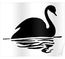 Swan on Water (Silhouette Drawing) Poster