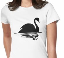 Swan on Water (Silhouette Drawing) Womens Fitted T-Shirt