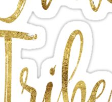 Bride Tribe Bridesmaid Maid Matron Honor Bridal Shower Bachelorette Party Wedding Hens Hen Night Faux Gold Foil Peacock Feather Boho Chic Sticker