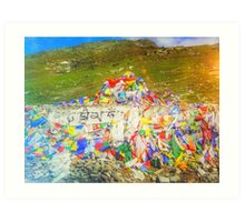 Tibet Flags Mountaintop Art Print