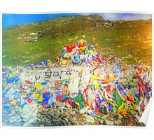 Tibet Flags Mountaintop Poster