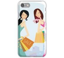 Shopping womans in the city. Shopping womans in town isolated on white. iPhone Case/Skin