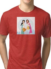 Shopping womans in the city. Shopping womans in town isolated on white. Tri-blend T-Shirt