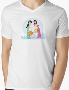 Shopping womans in the city. Shopping womans in town isolated on white. Mens V-Neck T-Shirt