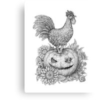 Halloween Rooster (and Mice) :D Canvas Print