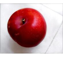 Red Plum on a White Cloth Photographic Print