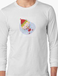 Santa christmas elf in red costume. Cute christmas elf in red. Vector cartoon Illustration. Long Sleeve T-Shirt