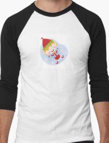 Santa christmas elf in red costume. Cute christmas elf in red. Vector cartoon Illustration. Men's Baseball ¾ T-Shirt
