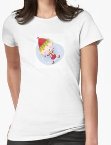 Santa christmas elf in red costume. Cute christmas elf in red. Vector cartoon Illustration. Womens Fitted T-Shirt