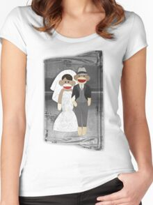Sock Monkey Wedding Women's Fitted Scoop T-Shirt