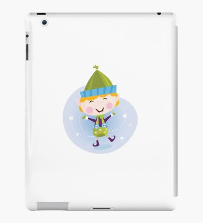 Santa christmas elf. Cute christmas elf in green costume iPad Case/Skin