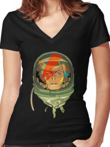 nasa bowie Women's Fitted V-Neck T-Shirt