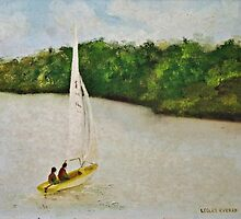 Sailing On The Dart - Oil Painting by lezvee