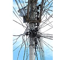 Power Lines on a Pole Photographic Print