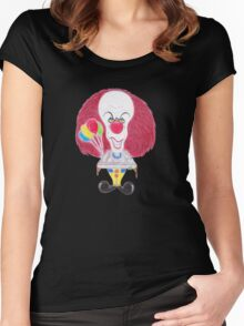 Horror Movie Clown Caricature Women's Fitted Scoop T-Shirt