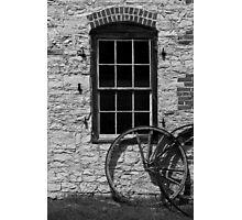 Blacksmith Shop Window w Wheel BW Photographic Print