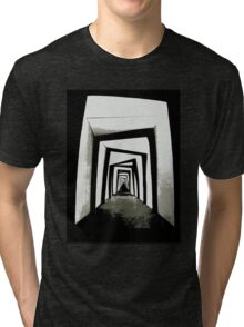 Tunnel Vision - Set design from the 1920s film The Cabinet of Dr. Caligari Tri-blend T-Shirt