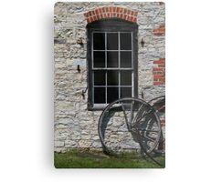 Blacksmith Shop Window w Wheel Metal Print