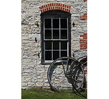 Blacksmith Shop Window w Wheel Photographic Print