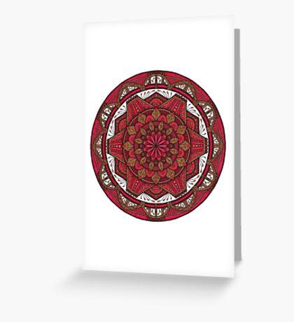 Red and Brown Mandala Greeting Card