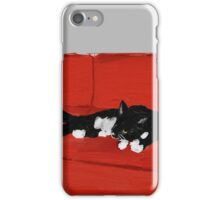 Cat on a Red Couch iPhone Case/Skin