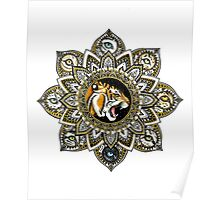 Black and Gold Roaring Tiger Mandala With 8 Cat Eyes Poster
