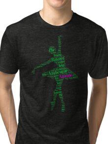 Ballet Typography : Green - Pink Tri-blend T-Shirt
