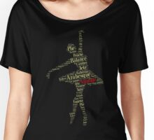Ballet Typography: Dance With Attitude (yellow red) Women's Relaxed Fit T-Shirt