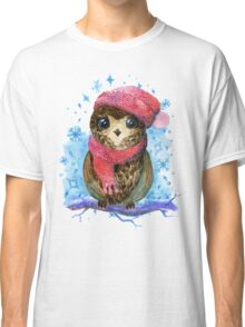 Owl in winter watercolor illustration Classic T-Shirt