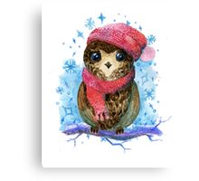Owl in winter watercolor illustration Canvas Print