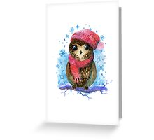Owl in winter watercolor illustration Greeting Card
