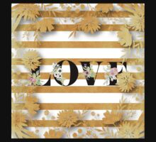 Gold,floral,stripes,white,black.LOVE.Typography,cool text,trendy,modern,girly,elegant,chic,contemporary art Baby Tee