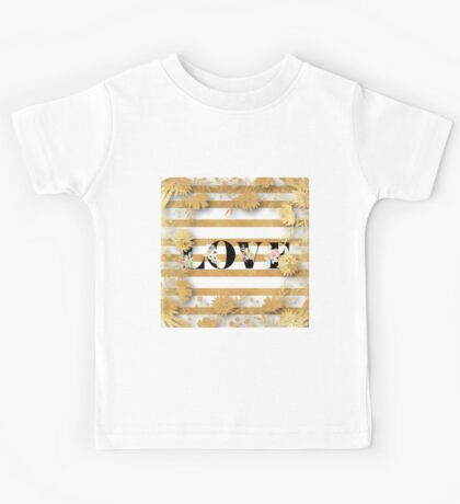 Gold,floral,stripes,white,black.LOVE.Typography,cool text,trendy,modern,girly,elegant,chic,contemporary art Kids Tee