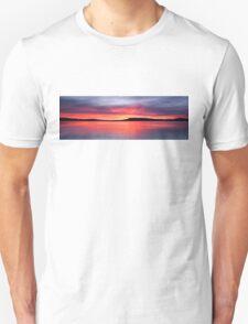 Panoramic Crimson Sunrise. Photo Art, Prints, Gifts, and Apparel. Unisex T-Shirt