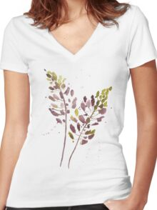 Flowers watercolor illustration Women's Fitted V-Neck T-Shirt