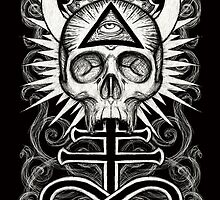 Illuminati Skull and Sulphuric Cross by ShayneoftheDead