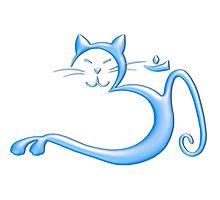 Om Kitty - Liquid Blue Photographic Print