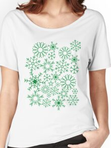Snowflakes on green Women's Relaxed Fit T-Shirt