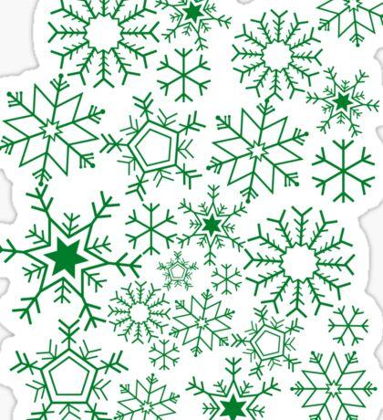 Snowflakes on green Sticker