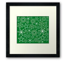 Snowflakes on green Framed Print