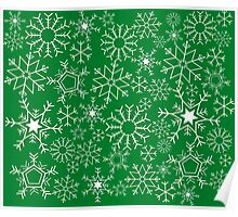 Snowflakes on green Poster